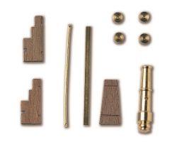 AFFUSTO CANNONE  legno ottone 27 x 6 mm (2pz)