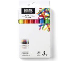 Liquitex Acrylic Marker Set da 6, Punta Fine - Fluorescenti