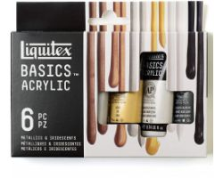 Liquitex Basics Acrylic Set da 6 tubi x 22 ml - Metallici e Iridescenti