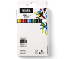 Liquitex Acrylic Marker Set da 6, Punta Fine - Classici