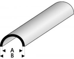 Profilo Mezzo Tubo Half Round Hollow 1,5x3,0mm/0.06x0.118  x 100 cm